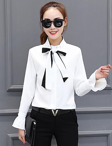 Damen Solide Einfach Anspruchsvoll Lässig/Alltäglich Arbeit Hemd,Ständer Frühling Herbst Langarm Baumwolle Kunstseide Polyester Dünn