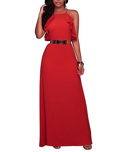 Damen Party / Ausgehen / Klub Freizeit / Street Schick Hülle Kleid - Rückenfrei / Mehrschichtig, Solide Maxi Quadratischer Ausschnitt