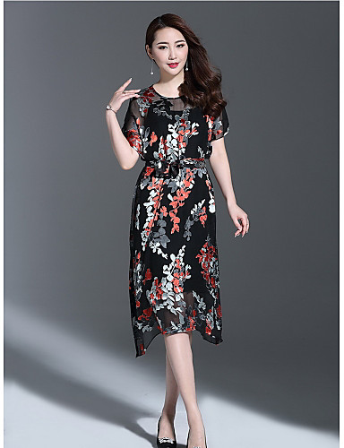 Damen Hülle Kleid-Ausgehen Niedlich Druck Rundhalsausschnitt Midi Kurzarm Polyester Sommer Mittlere Hüfthöhe Mikro-elastisch Mittel