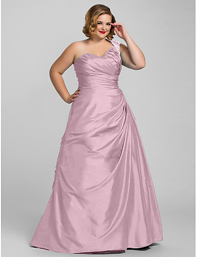 cheap Quinceanera Dresses-Plus Size A-Line One Shoulder Floor Length Taffeta Prom / Formal Evening Dress with Beading / Side Draping by TS Couture®
