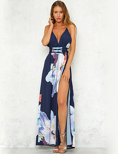 cd0ad98caf2 Women s Backless Party Beach Maxi Chiffon Swing Dress - Floral Blue