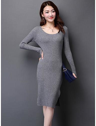 Damen Bodycon Kleid-Ausgehen Solide Rundhalsausschnitt Midi Langarm Baumwolle Herbst Mittlere Hüfthöhe Mikro-elastisch Mittel
