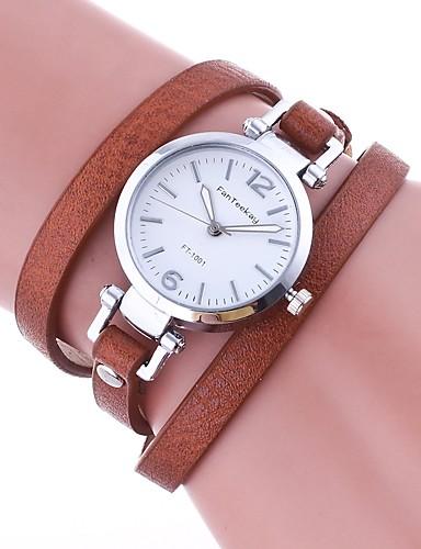 911e2acc0e4 Mulheres Bracele Relógio envoltório relógio Quartzo Couro PU Acolchoado  Preta   Branco   Azul Relógio Casual Analógico senhoras Vintage Casual  Fashion ...