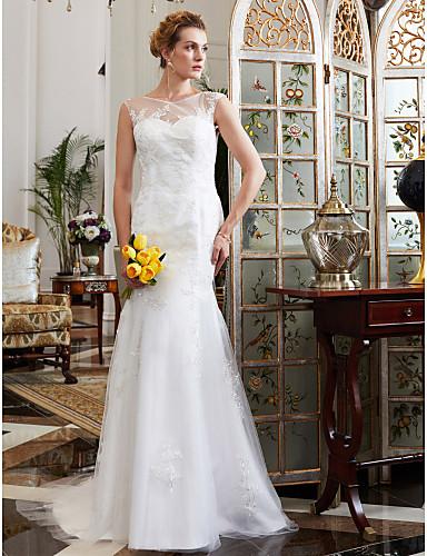 Sellő fazon Illúziós nyakpánt Udvari uszály Csipke Szatén Tüll Egyéni esküvői ruhák val vel Rátétek Gombok által LAN TING BRIDE®