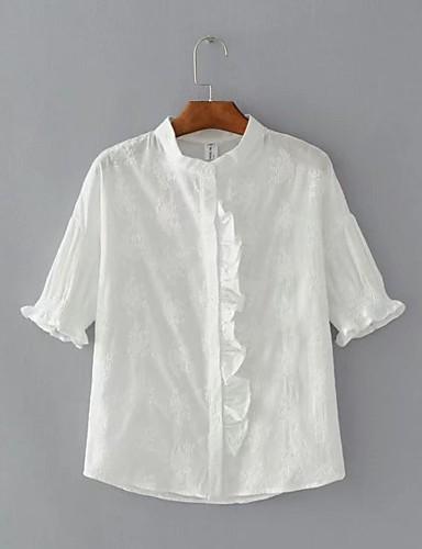 Damen Solide Einfach Sexy Street Schick Ausgehen Lässig/Alltäglich Hemd,Ständer Sommer Herbst Kurzarm Baumwolle Mittel
