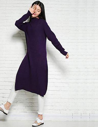 Damen Lang Pullover-Lässig/Alltäglich Solide Rollkragen Langarm Nylon Winter Mittel Mikro-elastisch
