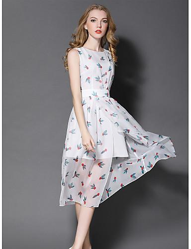 Damen Hülle Kleid-Ausgehen Niedlich Druck Rundhalsausschnitt Midi Ärmellos Polyester Sommer Mittlere Hüfthöhe Mikro-elastisch Mittel
