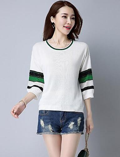 Damen Kurz Pullover-Lässig/Alltäglich Solide Rundhalsausschnitt 3/4 Ärmel Wolle Andere Sommer Dünn Mikro-elastisch