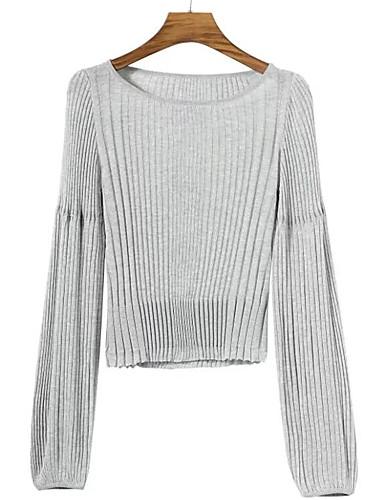 Damen Kurz Pullover-Ausgehen Lässig/Alltäglich Street Schick Solide Rundhalsausschnitt Langarm Baumwolle Elasthan Herbst Dünn