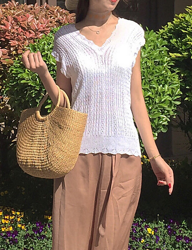 Damen Kurzarm Pullover - Solide V-Ausschnitt / Sommer