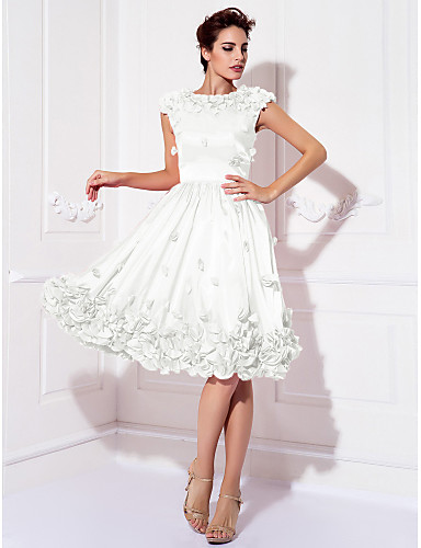 abordables Robes de Fête-Trapèze Bijoux Mi-long Satin Elastique Soirée Cocktail Robe avec Appliques par TS Couture®