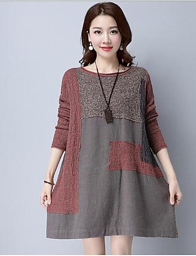 Damen Lang Pullover-Lässig/Alltäglich Solide Einfarbig Rundhalsausschnitt Langarm Baumwolle Andere Herbst Mittel Dick Mikro-elastisch