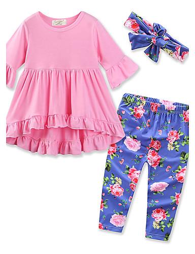 Pamut Egyszínű Virágos Tavasz Ősz Hosszú ujj Lány Ruházat szett Virágos Elegáns ruházat Arcpír rózsaszín