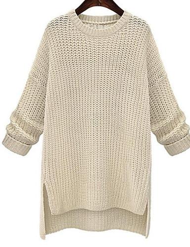 Damen Lang Pullover-Lässig/Alltäglich Ausgehen Einfach Solide Rundhalsausschnitt Langarm Baumwolle Herbst Dick Mikro-elastisch