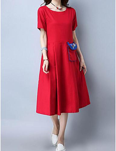 Damen Chinoiserie Baumwolle Lose Kleid Stickerei Midi / Sommer