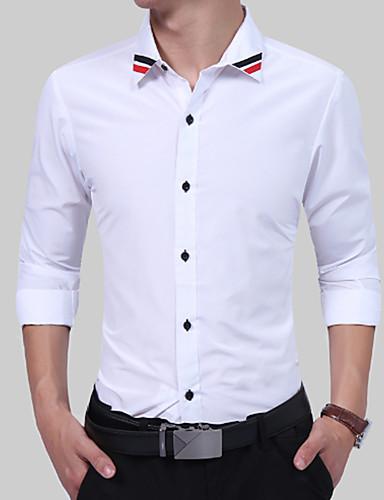 رجال قميص كاجوال/يومي بسيط طباعة جميع الفصول رقبة مربعة كم طويل قطن