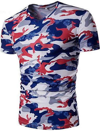 Herrn camuflaje Einfach Lässig/Alltäglich T-shirt, V-Ausschnitt Sommer Kurzarm Polyester