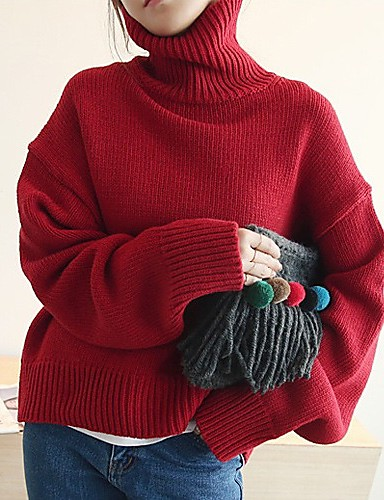 Women's Simple Long Sleeve Cotton Pullover - Solid Colored Turtleneck / Winter
