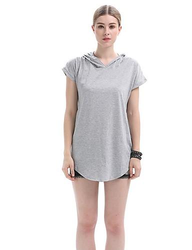 Damen Kapuzenshirt Sport Ausgehen Lässig/Alltäglich Street Schick Solide Mikro-elastisch Baumwolle Acryl Kurzarm Ganzjährig