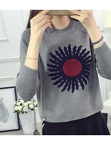 Damen Standard Pullover-Lässig/Alltäglich Solide Druck Rundhalsausschnitt Langarm Baumwolle Leinen Herbst Mittel Mikro-elastisch