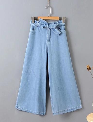 Damen Street Schick Mittlere Hüfthöhe Mikro-elastisch Breites Bein Hose,Seide Baumwolle Acryl Frühling Sommer Herbst Solide