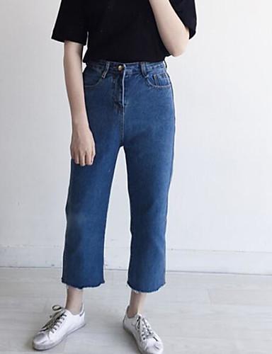 Damen Einfach Mittlere Hüfthöhe Mikro-elastisch Jeans Gerade Hose Solide