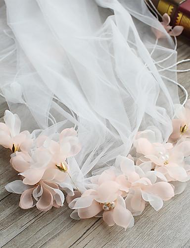 Einschichtig Schnittkante Hochzeitsschleier Ellbogenlange Schleier Kapellen Schleier Mit Satin Blume Band Rüschen Chiffon Spitze Tüll