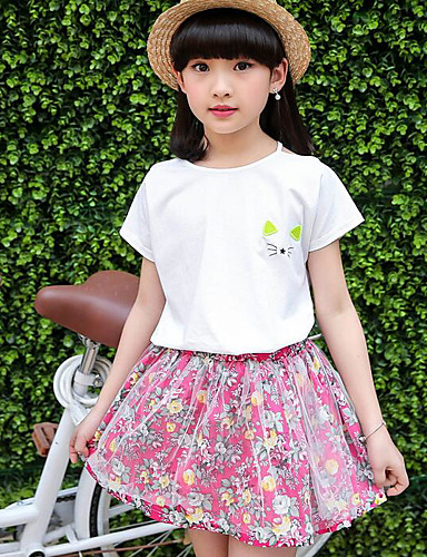 Mädchen Sets Blumen Baumwolle Sommer Kleidungs Set