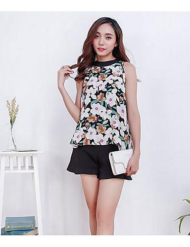 Damen Solide Muster Einfach Lässig/Alltäglich Bluse Hose Anzüge,Rundhalsausschnitt Sommer Ärmellos