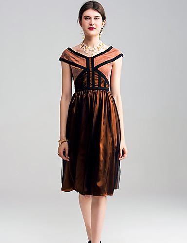 Damen Hülle Kleid-Lässig/Alltäglich Solide Gestreift Druck V-Ausschnitt Knielang Kurzarm Polyester Frühling Hohe Hüfthöhe Mikro-elastisch