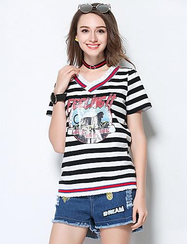 Damen Gestreift Einfach Ausgehen T-shirt,V-Ausschnitt Sommer Kurzarm Polyester