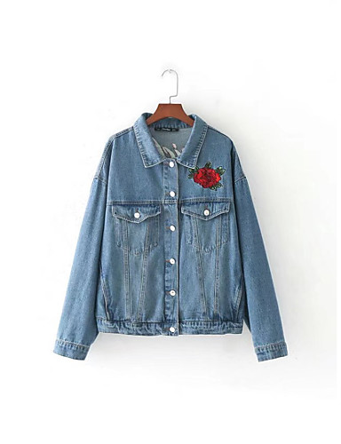 Damen Solide Druck Aktiv Street Schick Ausgehen Lässig/Alltäglich Jeansjacke,Hemdkragen Frühling Herbst Langärmelige Standard Baumwolle