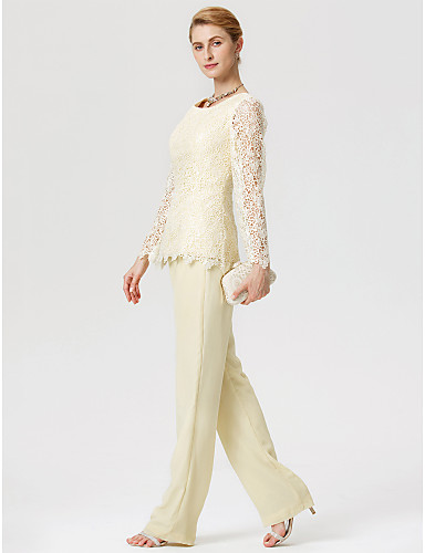 458e5cbea72 Sheath   Column   Jumpsuits   Pantsuit Jewel Neck Floor Length Chiffon   Lace  Mother of the Bride Dress with Lace by LAN TING BRIDE®   Illusion Sleeve    See ...