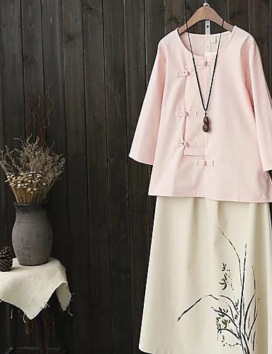 Damen Solide Einfach Niedlich Street Schick Ausgehen Lässig/Alltäglich T-shirt,Rundhalsausschnitt Frühling Herbst Halbe Ärmel Baumwolle