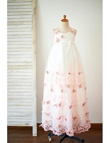 A-Linie Boden-Länge Blumenmädchenkleid - Tüll Ärmellos Spaghetti-Träger mit Blume durch LAN TING BRIDE®
