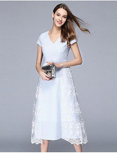 Damen A-Linie Kleid-Party Ausgehen Einfach Anspruchsvoll Solide Jacquard V-Ausschnitt Midi Kurzarm Acryl Sommer Herbst Mittlere Hüfthöhe