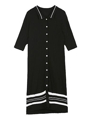 Damen Etuikleid Kleid-Lässig/Alltäglich Gestreift V-Ausschnitt Midi Halbe Ärmel Baumwolle Sommer Hohe Hüfthöhe Mikro-elastisch Dünn