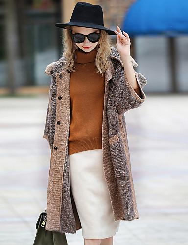 Napi Alkalmi Vintage Kapucni Női Szokványos Kabát Színes Tél Ősz Poliészter Angoragyapjú