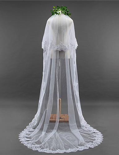 Two-tier Lace Applique Edge Scalloped Edge Wedding Veil Chapel Veils 53 Sequin Appliques Lace Tulle