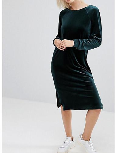 Damen T Shirt Kleid Solide Midi