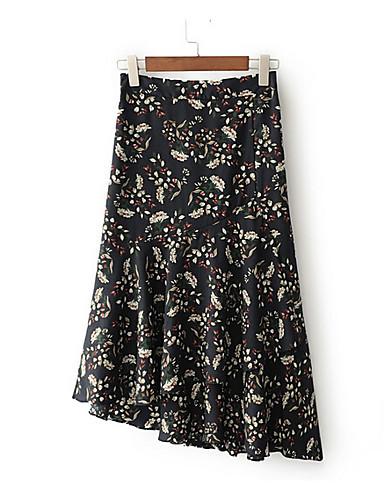Damen Ausgehen Asymmetrisch Röcke Schlank Solide Sommer