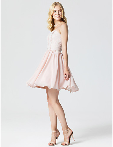 Princess Sweetheart Neckline Short / Mini Chiffon / Lace Cocktail Party / Homecoming / Prom Dress with Pleats by TS Couture® / Open Back