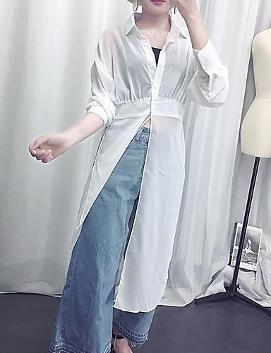 نساء قميص كاجوال/يومي بسيط سادة قبعة القميص كم طويل قطن