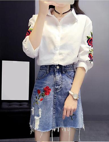 Damen Solide Stickerei Chinoiserie Lässig/Alltäglich Shirt Rock Anzüge,Hemdkragen Sommer ¾ Ärmel Mikro-elastisch