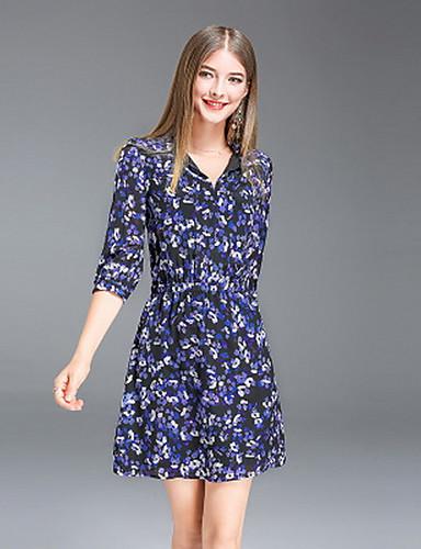 Damen Chiffon Kleid-Ausgehen Lässig/Alltäglich Einfach Blumen V-Ausschnitt Übers Knie 3/4 Ärmel Seide Polyester Sommer Mittlere Hüfthöhe