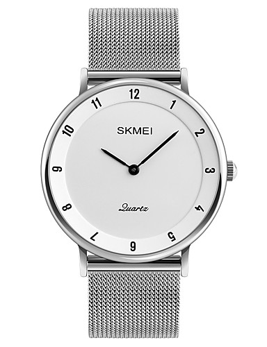 SKMEI Men's Wrist Watch Japanese Quartz 30 m Water Resistant / Water Proof Cool Stainless Steel Band Analog Casual Fashion Minimalist Silver - Gray Red Blue
