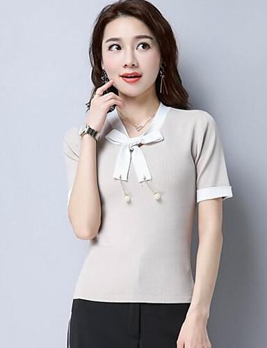 Damen Kurz Pullover-Lässig/Alltäglich Solide Druck V-Ausschnitt Kurzarm Baumwolle Andere Sommer Dünn Mikro-elastisch