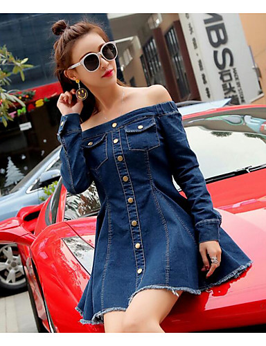 Women's Going out Simple Denim Dress - Solid Colored Boat Neck Spring Cotton Blue M L XL