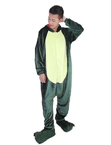 99d034e864 Adults  Kigurumi Pajamas Dragon Dinosaur Onesie Pajamas Flannel Fabric  Green   Pink Cosplay For Men and Women Animal Sleepwear Cartoon Festival    Holiday ...