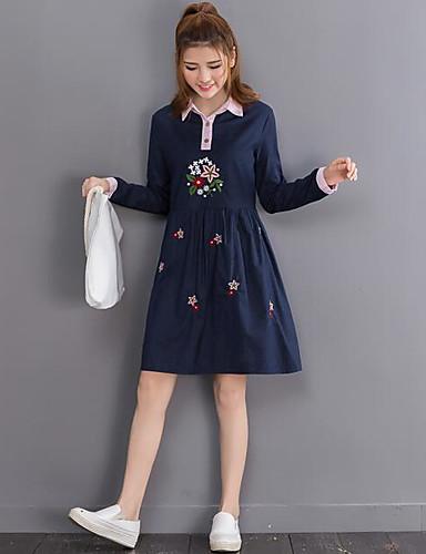 فوق الركبة قبعة القميص مرتفع مطرز - فستان قميص قطن للمرأة / خريف